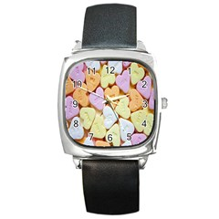 Candy Pattern Square Metal Watch by Nexatart