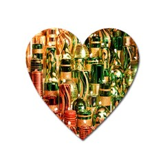 Candles Christmas Market Colors Heart Magnet by Nexatart