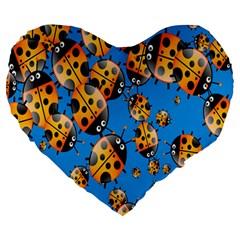 Cartoon Ladybug Large 19  Premium Heart Shape Cushions by Nexatart