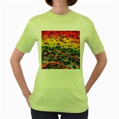 Car Painting Modern Art Women s Green T Shirt