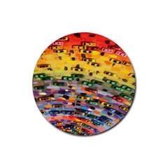 Car Painting Modern Art Rubber Round Coaster (4 Pack)  by Nexatart