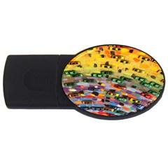 Car Painting Modern Art Usb Flash Drive Oval (4 Gb)