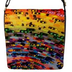 Car Painting Modern Art Flap Messenger Bag (s) by Nexatart
