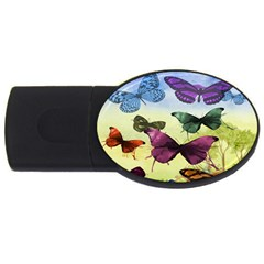 Butterfly Painting Art Graphic Usb Flash Drive Oval (4 Gb)