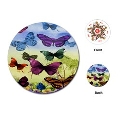 Butterfly Painting Art Graphic Playing Cards (round)