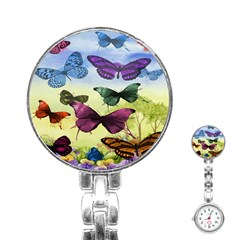 Butterfly Painting Art Graphic Stainless Steel Nurses Watch