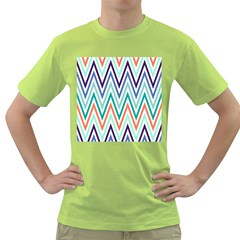 Chevrons Colourful Background Green T Shirt by Nexatart