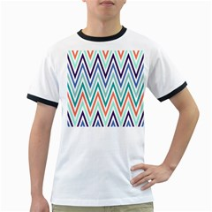 Chevrons Colourful Background Ringer T Shirts