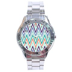 Chevrons Colourful Background Stainless Steel Analogue Watch by Nexatart