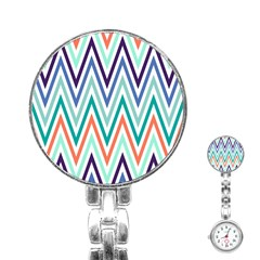 Chevrons Colourful Background Stainless Steel Nurses Watch