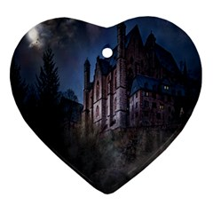 Castle Mystical Mood Moonlight Ornament (heart) by Nexatart