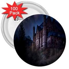 Castle Mystical Mood Moonlight 3  Buttons (100 Pack)  by Nexatart