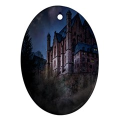 Castle Mystical Mood Moonlight Oval Ornament (two Sides) by Nexatart