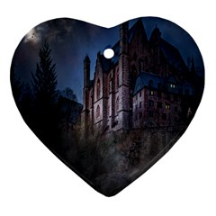 Castle Mystical Mood Moonlight Heart Ornament (two Sides) by Nexatart