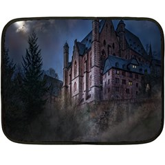 Castle Mystical Mood Moonlight Fleece Blanket (mini) by Nexatart