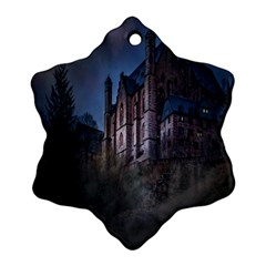Castle Mystical Mood Moonlight Ornament (snowflake) by Nexatart