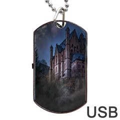 Castle Mystical Mood Moonlight Dog Tag Usb Flash (one Side) by Nexatart