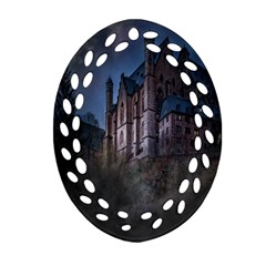 Castle Mystical Mood Moonlight Ornament (oval Filigree) by Nexatart