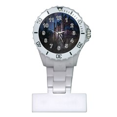 Castle Mystical Mood Moonlight Plastic Nurses Watch by Nexatart