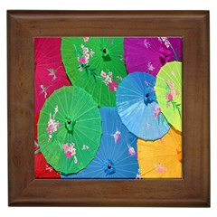 Chinese Umbrellas Screens Colorful Framed Tiles by Nexatart