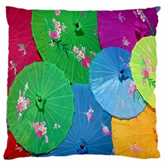 Chinese Umbrellas Screens Colorful Large Flano Cushion Case (One Side) by Nexatart