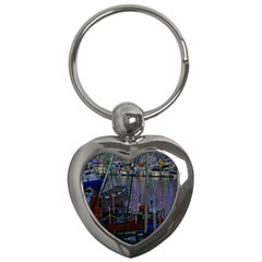Christmas Boats In Harbor Key Chains (heart)