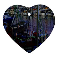 Christmas Boats In Harbor Heart Ornament (two Sides)