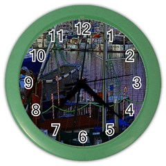 Christmas Boats In Harbor Color Wall Clocks