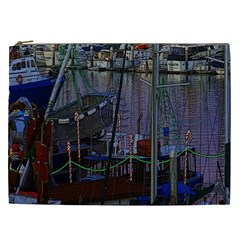 Christmas Boats In Harbor Cosmetic Bag (xxl)  by Nexatart