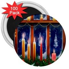 Christmas Lighting Candles 3  Magnets (100 Pack) by Nexatart