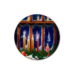 Christmas Lighting Candles Rubber Round Coaster (4 Pack)