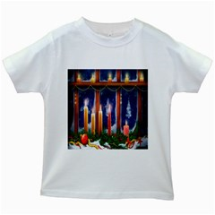 Christmas Lighting Candles Kids White T Shirts