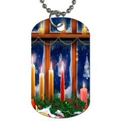 Christmas Lighting Candles Dog Tag (one Side)
