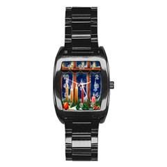 Christmas Lighting Candles Stainless Steel Barrel Watch