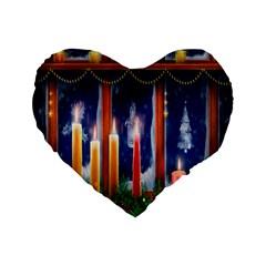 Christmas Lighting Candles Standard 16  Premium Flano Heart Shape Cushions by Nexatart