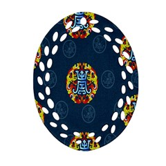 China Wind Dragon Oval Filigree Ornament (two Sides)