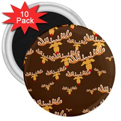 Christmas Reindeer Pattern 3  Magnets (10 Pack)  by Nexatart