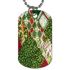 Christmas Quilt Background Dog Tag (one Side) by Nexatart