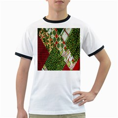 Christmas Quilt Background Ringer T Shirts