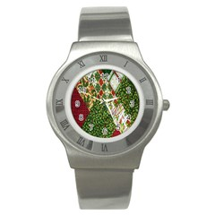 Christmas Quilt Background Stainless Steel Watch by Nexatart