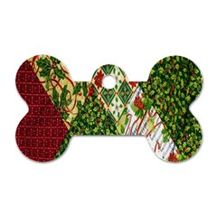Christmas Quilt Background Dog Tag Bone (two Sides) by Nexatart