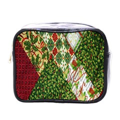 Christmas Quilt Background Mini Toiletries Bags by Nexatart