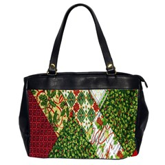 Christmas Quilt Background Office Handbags (2 Sides)