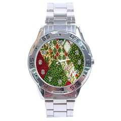 Christmas Quilt Background Stainless Steel Analogue Watch by Nexatart