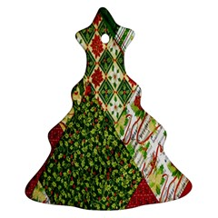 Christmas Quilt Background Christmas Tree Ornament (two Sides) by Nexatart