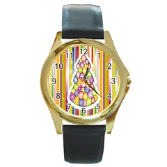 Christmas Tree Colorful Round Gold Metal Watch