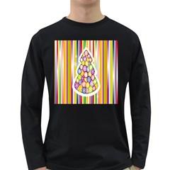Christmas Tree Colorful Long Sleeve Dark T-Shirts