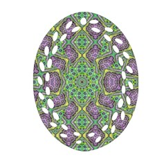 Modern Ornate Geometric Pattern Oval Filigree Ornament (two Sides) by dflcprints