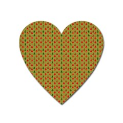 Christmas Trees Pattern Heart Magnet by Nexatart