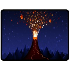 Christmas Volcano Double Sided Fleece Blanket (large)  by Nexatart
